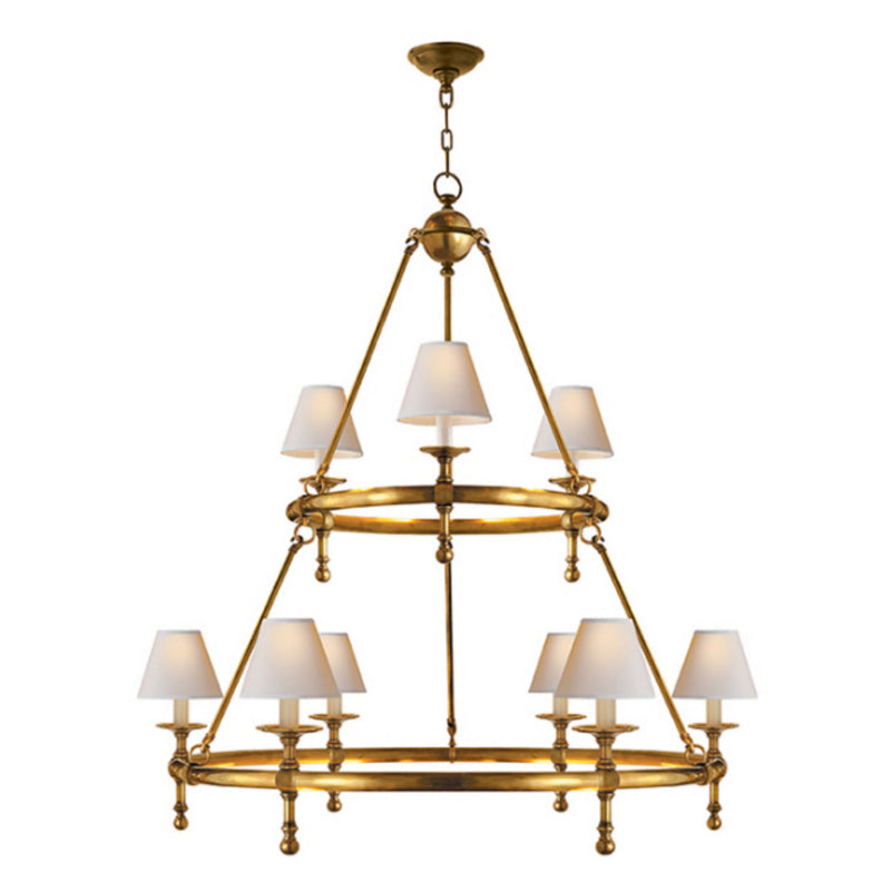 Visual Comfort SL 5813HAB-NP Chapman & Myers Classic Two-Tier Ring Chandelier in Hand-Rubbed Antique Brass