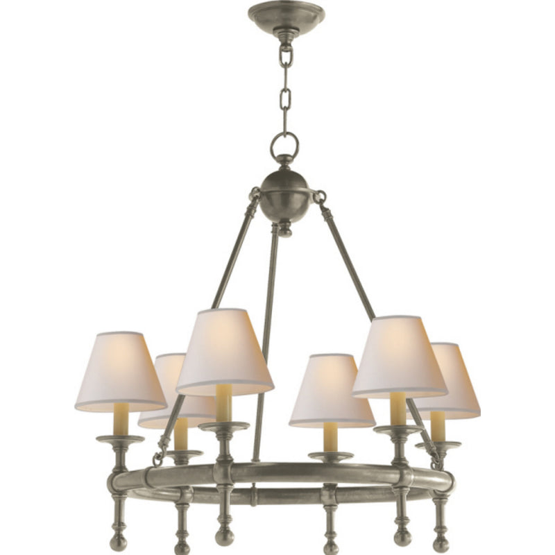 Visual Comfort SL 5814AN-NP Chapman & Myers Classic Mini Ring Chandelier in Antique Nickel