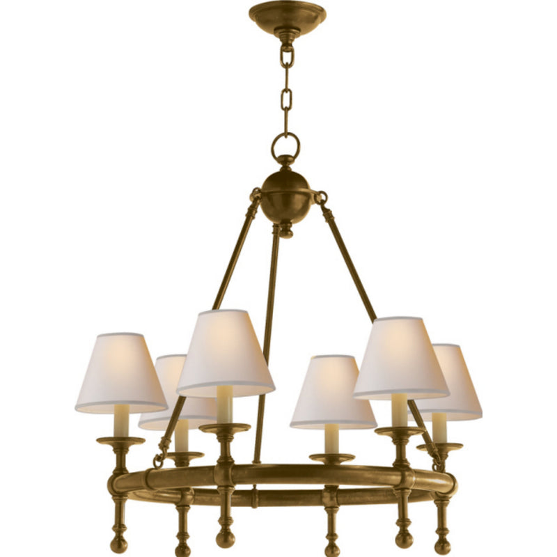Visual Comfort SL 5814HAB-NP Chapman & Myers Classic Mini Ring Chandelier in Hand-Rubbed Antique Brass