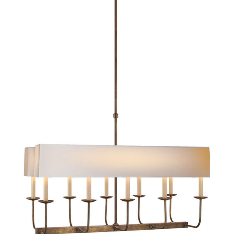 Visual Comfort SL 5863HAB-NP2 Chapman & Myers Linear Branched Chandelier in Hand-Rubbed Antique Brass