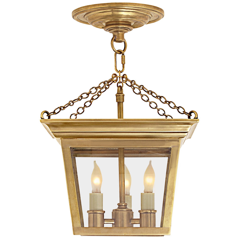 Visual Comfort SL 5870HAB Chapman & Myers Cornice Semi-Flush Lantern in Hand-Rubbed Antique Brass