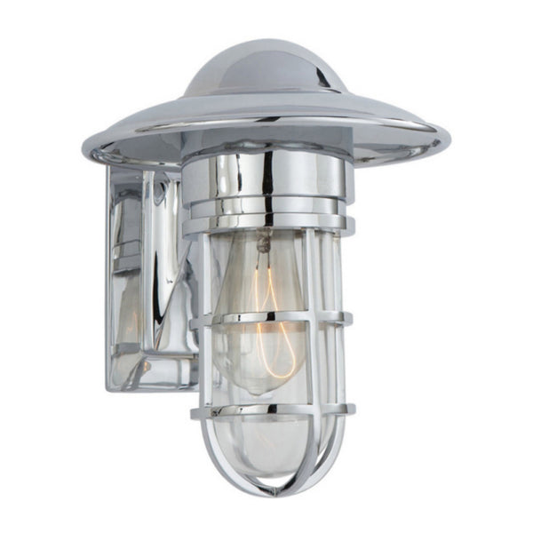 Visual Comfort SLO 2001CH-CG Chapman & Myers Casual Marine Indoor/Outdoor Wall Light in Chrome with Clear Glass