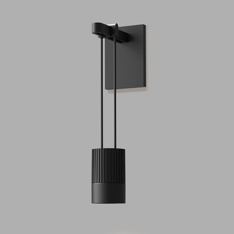 Sonneman SLS0219 Suspenders Mini Single Sconce with Suspended Cylinder w/Snoot Flood Lens in Satin Black