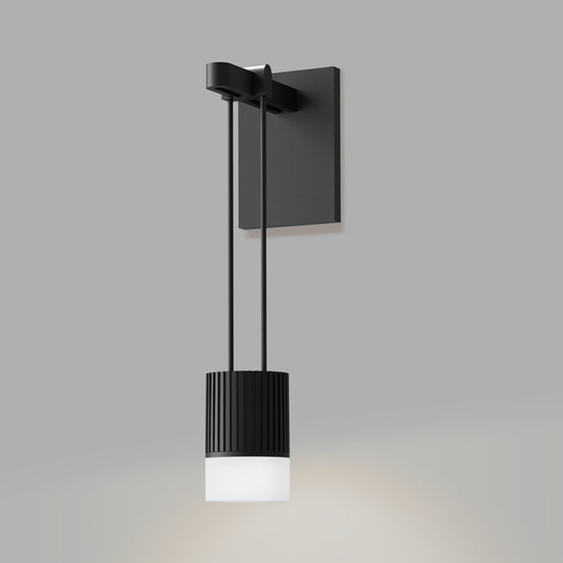Sonneman SLS0220 Suspenders Mini Single Sconce with Suspended Cylinder w/Glass Drum Diffuser in Satin Black