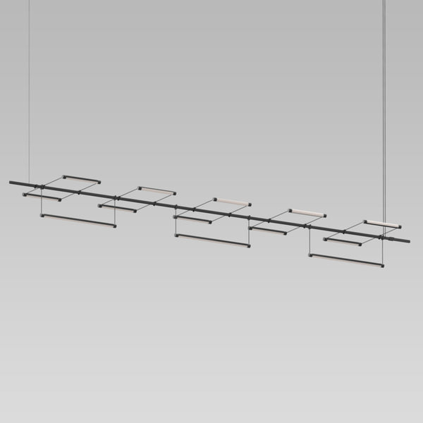 "Sonneman SLS1310 Suspenders 96"" 1-Tier Linear with 9"" Linear Rotational Luminaires in Satin Black"