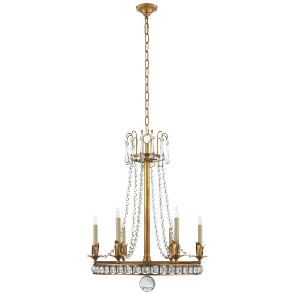 Visual Comfort SN 5107HAB Joe Nye Traditional Regency Medium Chandelier in Hand-Rubbed Antique Brass with Seeded Glass