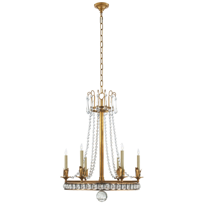 Visual Comfort SN 5107HAB Joe Nye Regency Medium Chandelier in Hand-Rubbed Antique Brass