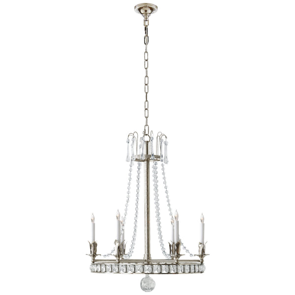 Visual Comfort SN 5107PN Joe Nye Traditional Regency Medium Chandelier in Polished Nickel with Seeded Glass