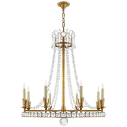 Visual Comfort SN 5108HAB Joe Nye Regency Large Chandelier in Hand-Rubbed Antique Brass
