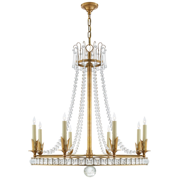 Visual Comfort SN 5108HAB Joe Nye Traditional Regency Large Chandelier in Hand-Rubbed Antique Brass