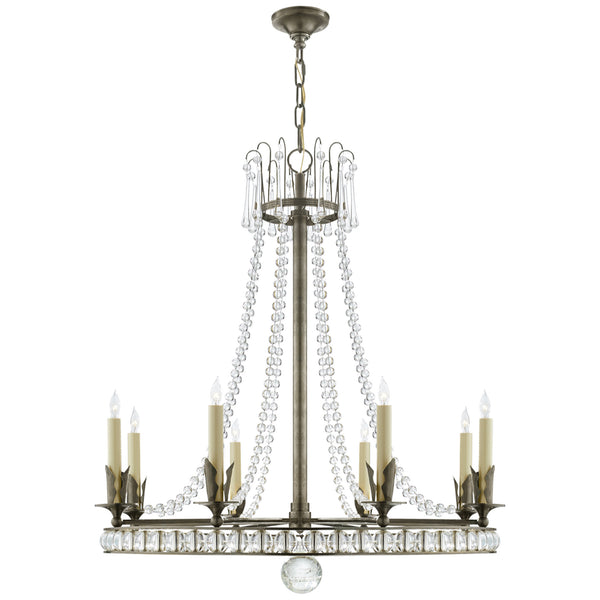 Visual Comfort SN 5108SN Joe Nye Traditional Regency Large Chandelier in Natural Nickel with Seeded Glass