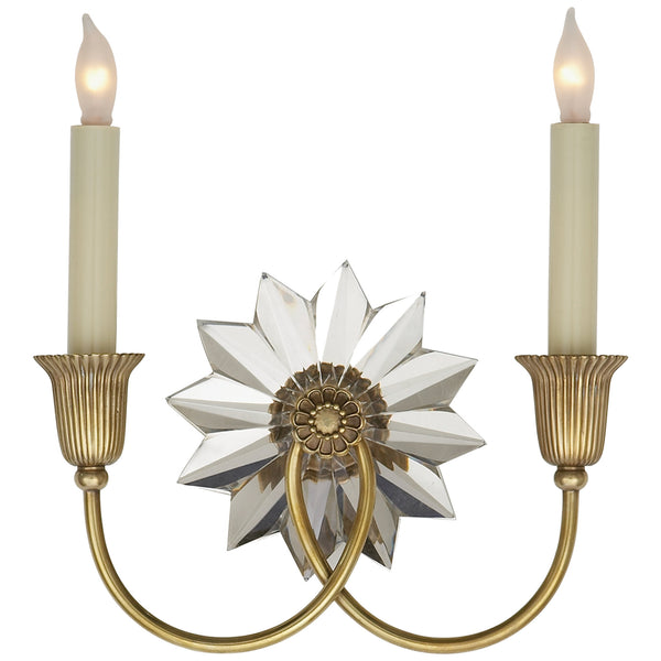 Visual Comfort SP 2013HAB J. Randall Powers Huntingdon Double Sconce in Hand-Rubbed Antique Brass