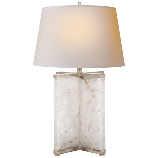 Visual Comfort SP 3005Q/BSL-NP J. Randall Powers Cameron Table Lamp in Natural Quartz Stone with Silver Leaf