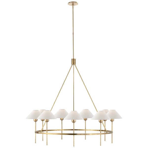 Visual Comfort SP 5014HAB-NP J. Randall Powers Hackney Large Chandelier in Hand-Rubbed Antique Brass