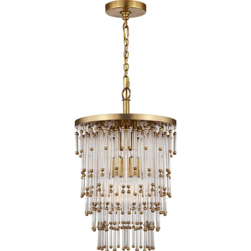 Visual Comfort SR 5110HAB-CG John Rosselli Mia Small Chandelier in Hand-Rubbed Antique Brass