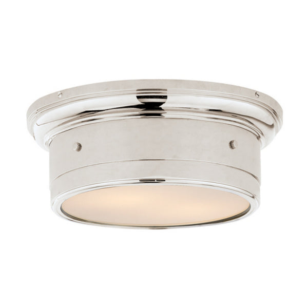 Visual Comfort SS 4015PN-WG Studio VC Traditional Siena Small Flush Mount in Polished Nickel with White Glass