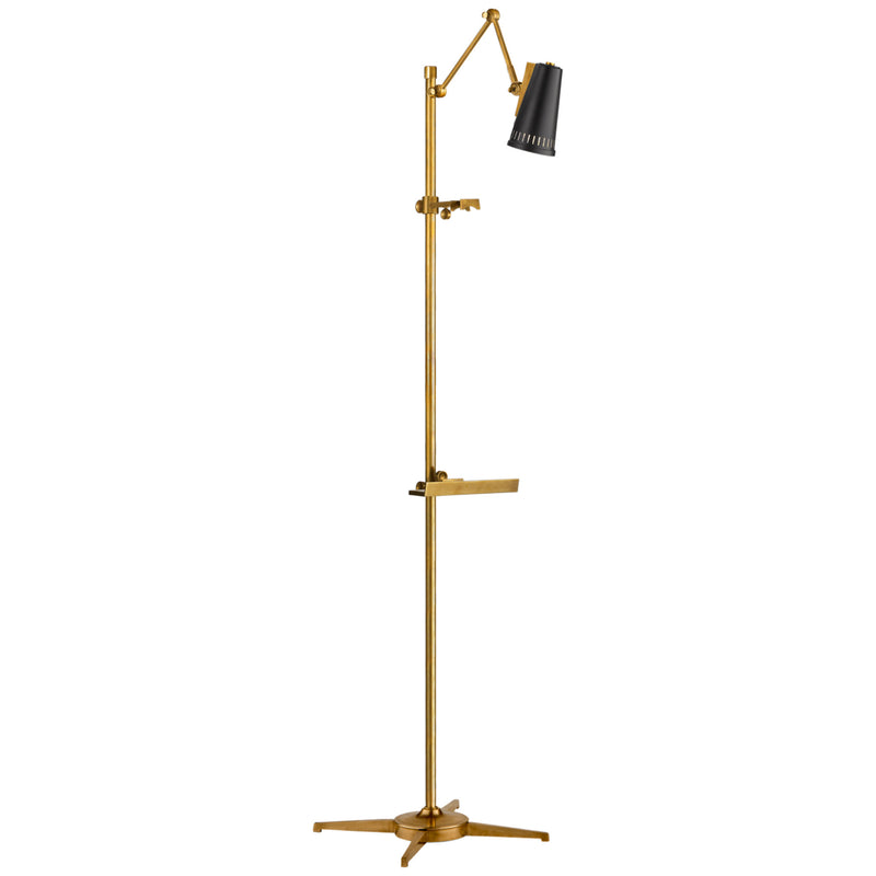 Visual Comfort TOB 1232HAB-BLK Thomas O'Brien Antonio Articulating Easel Floor Lamp in Hand-Rubbed Antique Brass