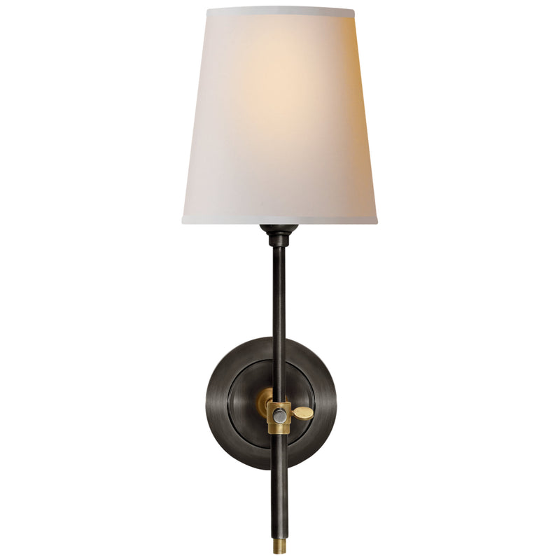 Visual Comfort TOB 2002BZ/HAB-NP Thomas O'brien Modern Bryant Sconce in Bronze and Hand-Rubbed Antique Brass with Natural Paper Shade