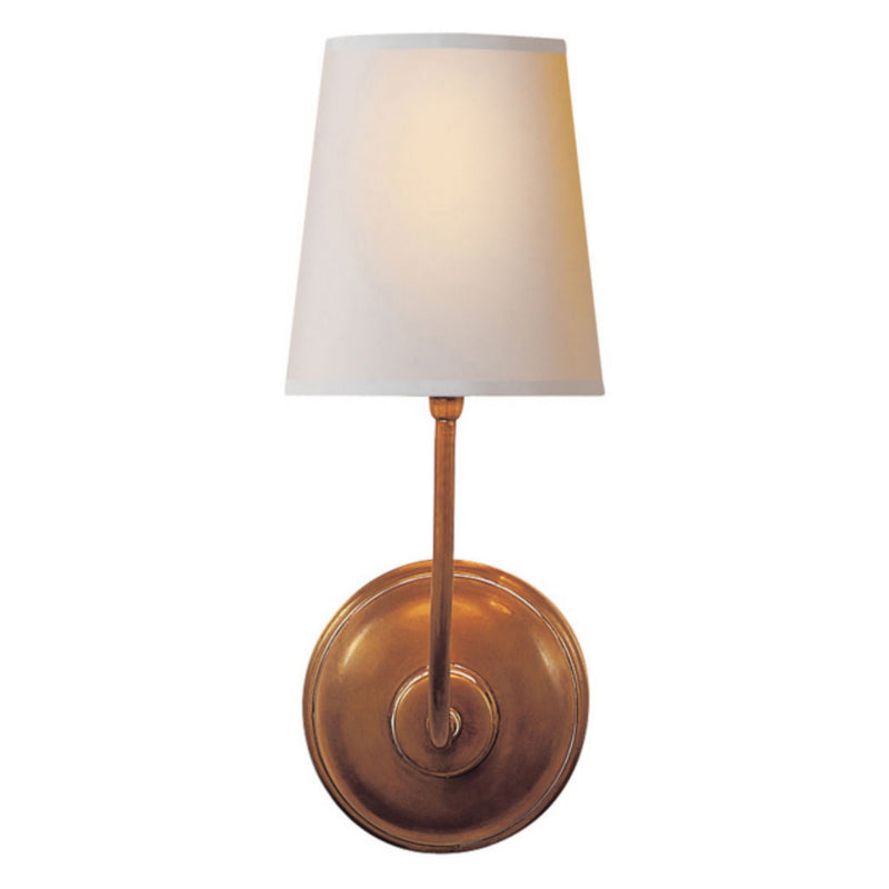 Visual Comfort TOB 2007HAB-NP Thomas O'Brien Vendome Single Sconce in Hand-Rubbed Antique Brass