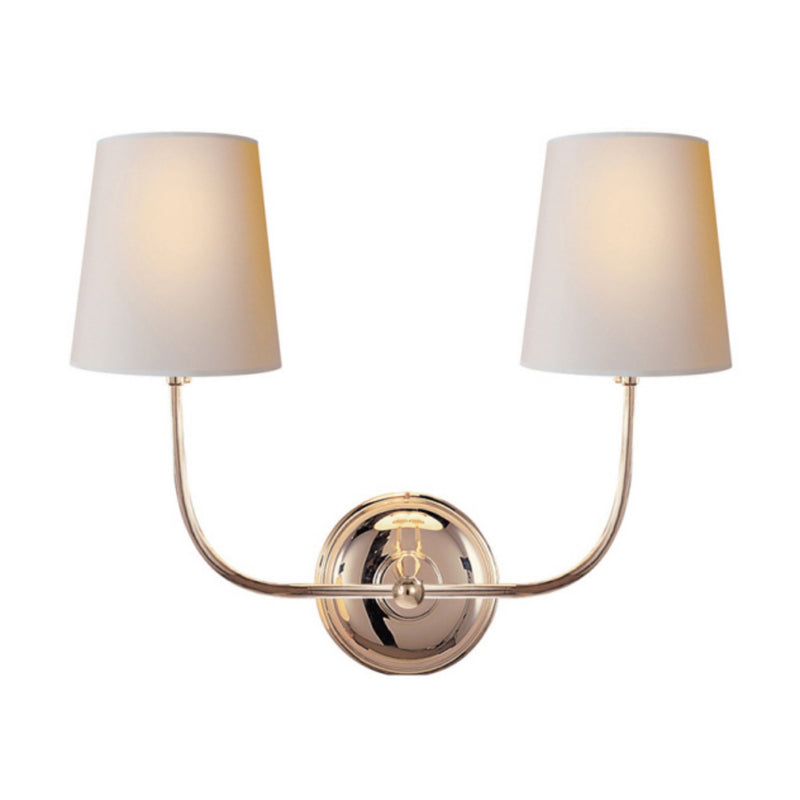 Visual Comfort TOB 2008PN-NP Thomas O'Brien Vendome Double Sconce in Polished Nickel