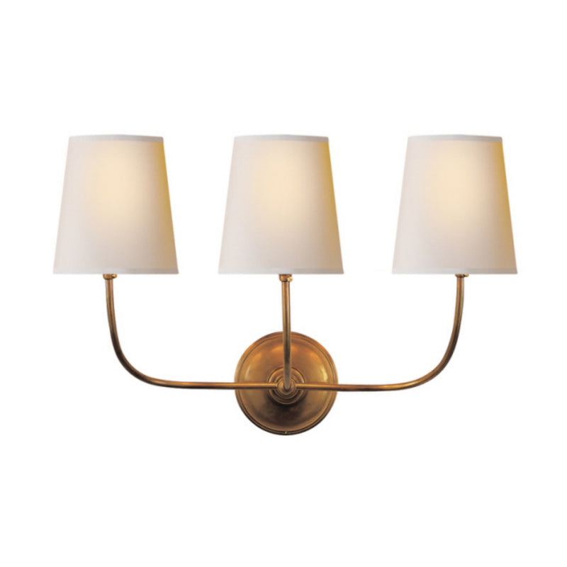 Visual Comfort TOB 2009HAB-NP Thomas O'Brien Vendome Triple Sconce in Hand-Rubbed Antique Brass
