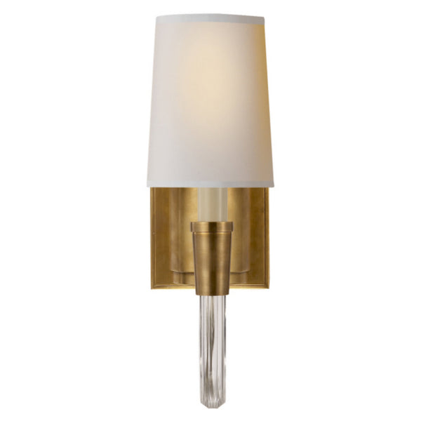 Visual Comfort TOB 2032HAB-NP Thomas O'Brien Vivian Single Sconce in Hand-Rubbed Antique Brass