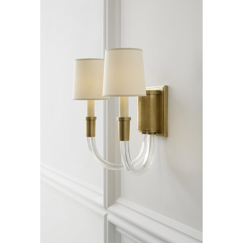 Visual Comfort TOB 2033HAB-NP Thomas O'Brien Vivian Double Sconce in Hand-Rubbed Antique Brass