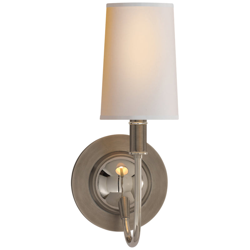 Visual Comfort TOB 2067AN/PN-NP Thomas O'Brien Elkins Sconce in Antique Nickel with Polished Nickel