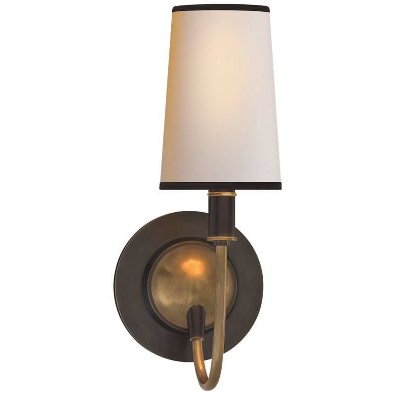 Visual Comfort TOB 2067BZ/HAB-NP/BT Thomas O'Brien Elkins Sconce in Bronze with Antique Brass