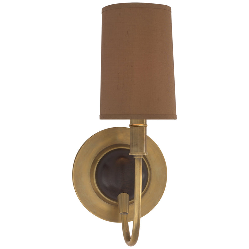 Visual Comfort TOB 2067HAB/CHC-FS Thomas O'Brien Elkins Sconce in Antique Brass with Chocolate