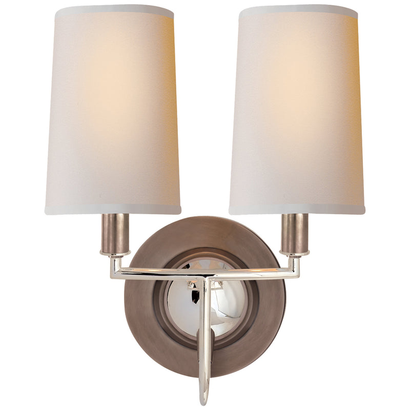 Visual Comfort TOB 2068AN/PN-NP Thomas O'Brien Elkins Double Sconce in Antique Nickel with Polished Nickel