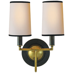Visual Comfort TOB 2068BZ/HAB-NP/BT Thomas O'Brien Elkins Double Sconce in Bronze with Antique Brass