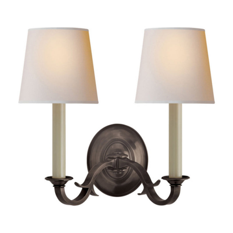 Visual Comfort TOB 2121BZ-NP Thomas O'Brien Channing Double Sconce in Bronze