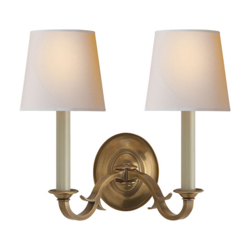 Visual Comfort TOB 2121HAB-NP Thomas O'Brien Channing Double Sconce in Hand-Rubbed Antique Brass