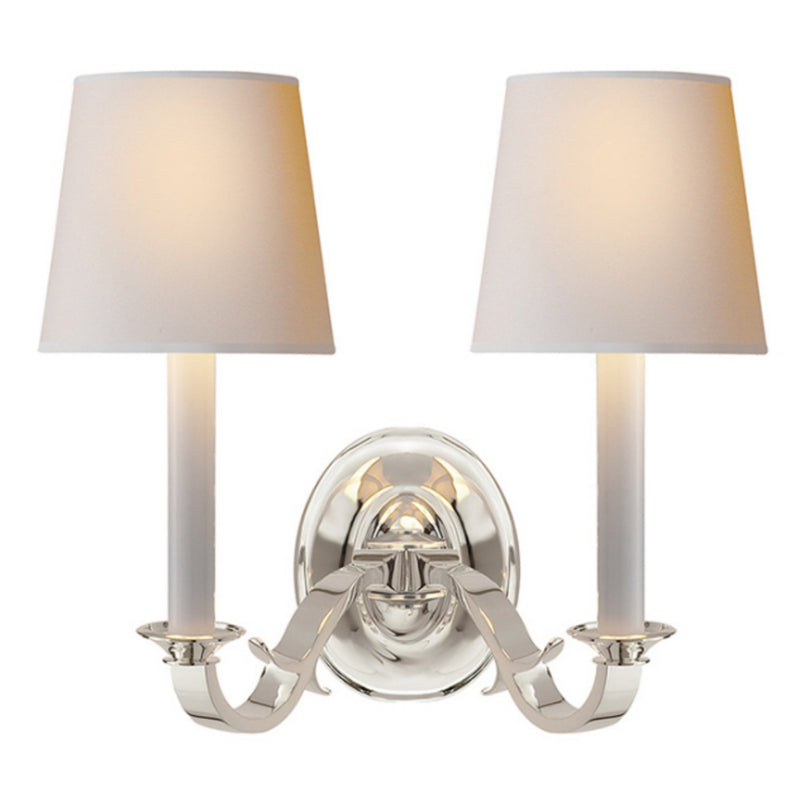 Visual Comfort TOB 2121PS-NP Thomas O'Brien Channing Double Sconce in Polished Silver