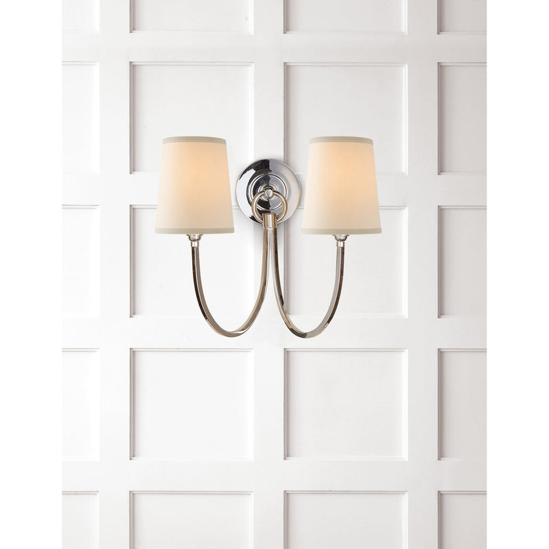 Visual Comfort TOB 2126PN-NP Thomas O'Brien Reed Double Sconce in Polished Nickel