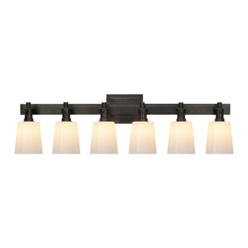 Visual Comfort TOB 2154BZ-WG Thomas O'Brien Bryant Six-Light Linear Bath Sconce in Bronze