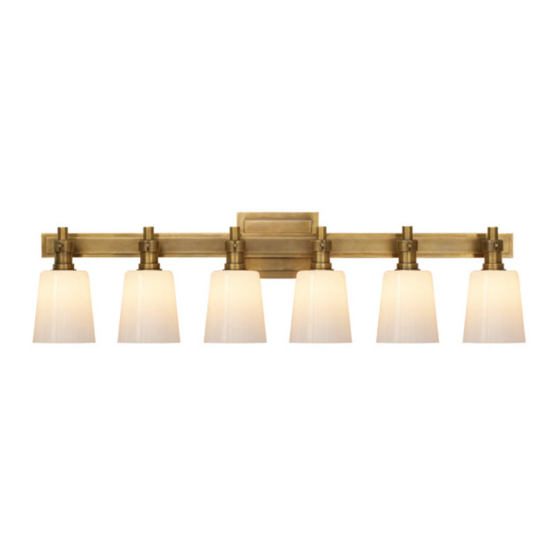 Visual Comfort TOB 2154HAB-WG Thomas O'Brien Bryant Six-Light Linear Bath Sconce in Hand-Rubbed Antique Brass