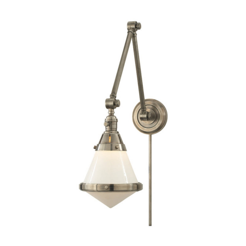 Visual Comfort TOB 2156AN-WG Thomas O'Brien Gale Library Wall Light in Antique Nickel