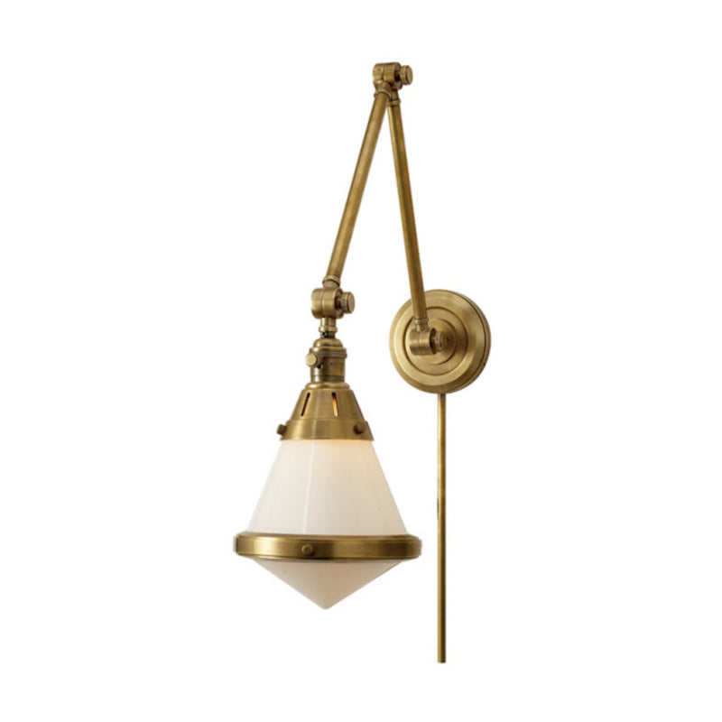Visual Comfort TOB 2156HAB-WG Thomas O'Brien Gale Library Wall Light in Hand-Rubbed Antique Brass