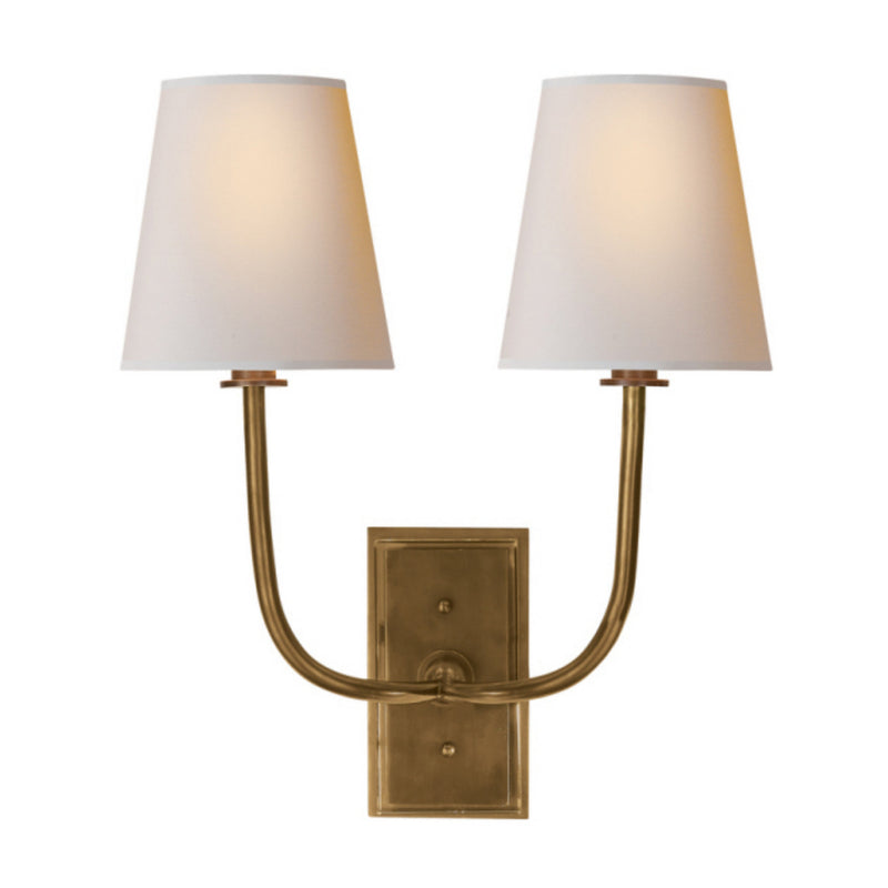Visual Comfort TOB 2191HAB-NP Thomas O'Brien Hulton Double Sconce in Hand-Rubbed Antique Brass
