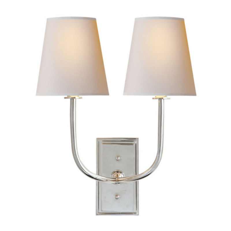 Visual Comfort TOB 2191PN-NP Thomas O'Brien Hulton Double Sconce in Polished Nickel