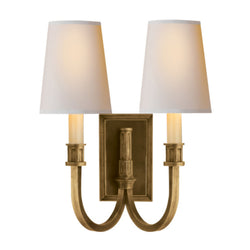 Visual Comfort TOB 2328HAB-NP Thomas O'Brien Modern Library Double Sconce in Hand-Rubbed Antique Brass