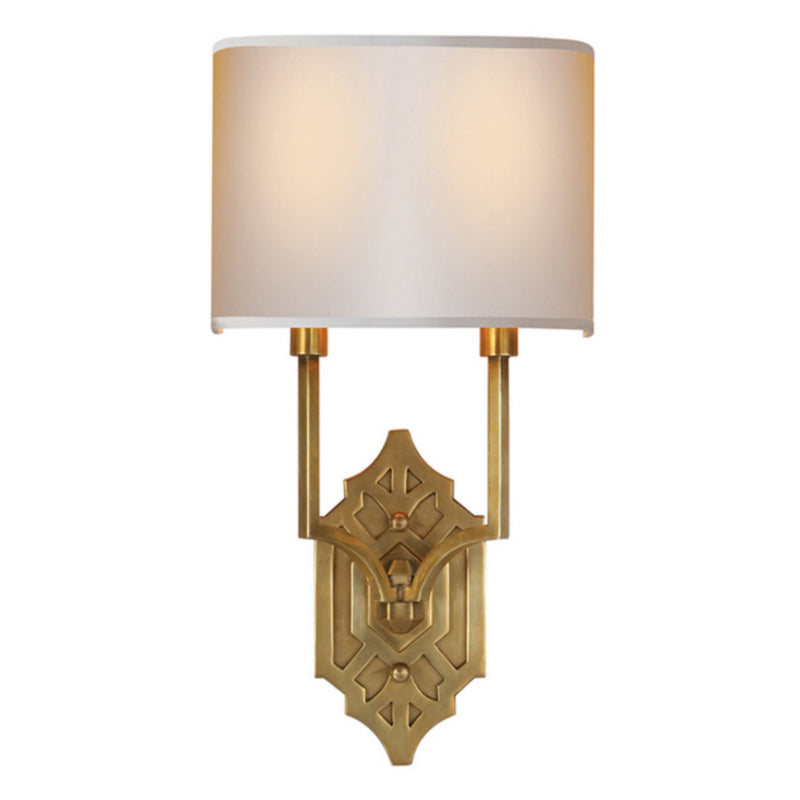 Visual Comfort TOB 2600HAB-NP Thomas O'Brien Silhouette Fretwork Sconce in Hand-Rubbed Antique Brass