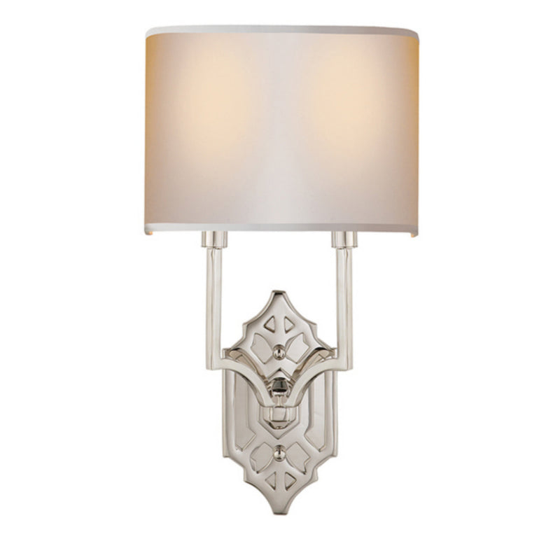 Visual Comfort TOB 2600PN-NP Thomas O'Brien Silhouette Fretwork Sconce in Polished Nickel