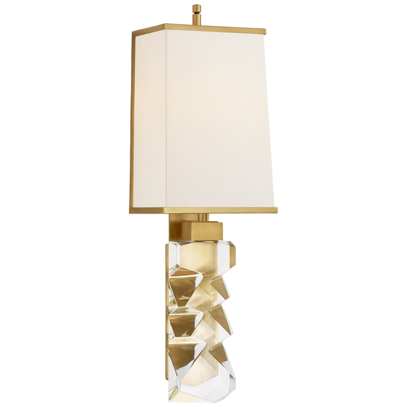 Visual Comfort TOB 2950CG/HAB-L/HAB Thomas O'Brien Argentino Large Sconce in Crystal and Hand-Rubbed Antique Brass