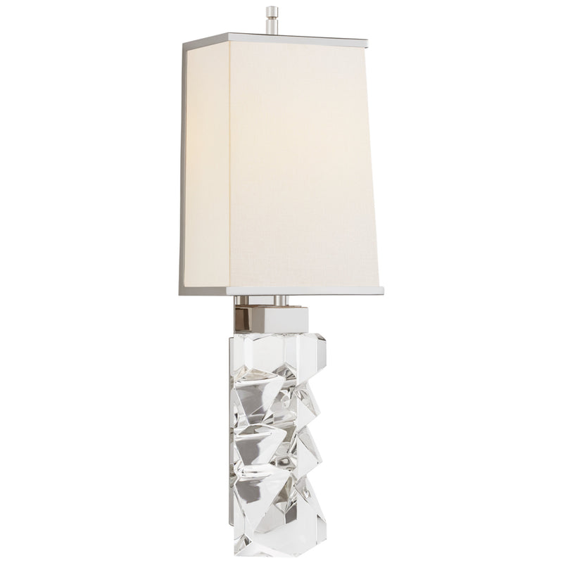 Visual Comfort TOB 2950CG/PN-L/PN Thomas O'Brien Argentino Large Sconce in Crystal and Polished Nickel