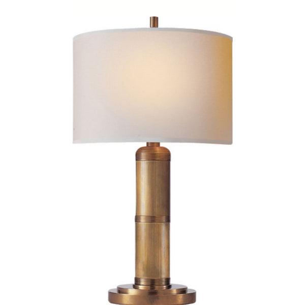 Visual Comfort TOB 3000HAB-NP Thomas O'Brien Modern Longacre Small Table Lamp in Hand-Rubbed Antique Brass