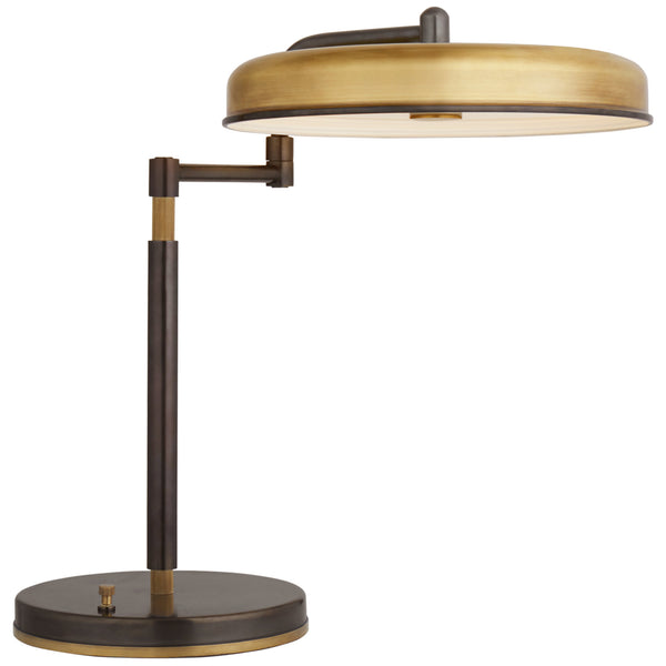Visual Comfort TOB 3739BZ/HAB Thomas O'Brien Huxley Swing Arm Desk Lamp in Bronze and Hand-Rubbed Antique Brass