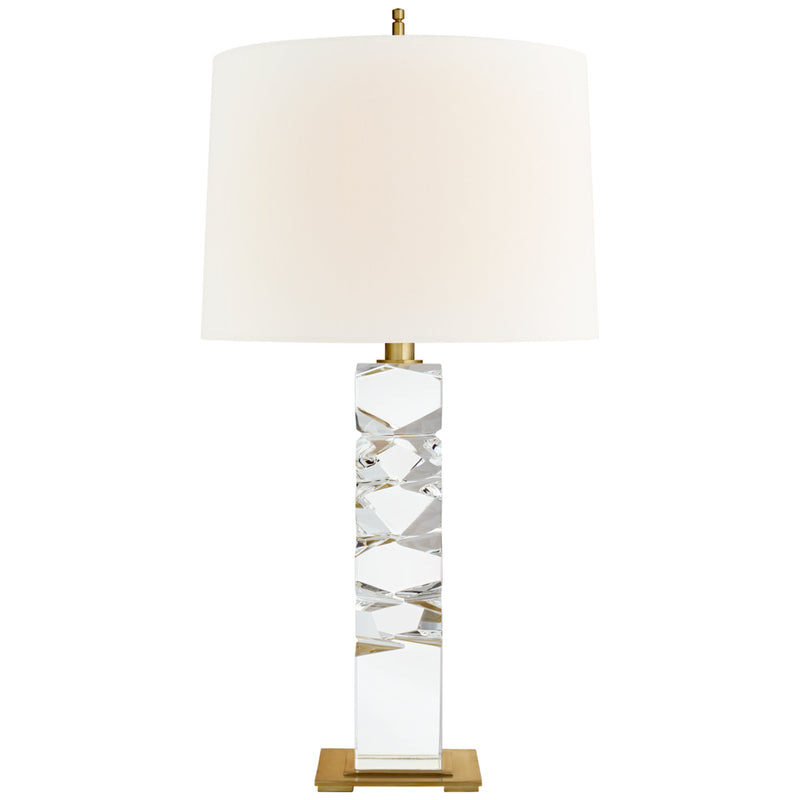 Visual Comfort TOB 3950CG/HAB-L Thomas O'Brien Argentino Large Table Lamp in Crystal and Hand-Rubbed Antique Brass